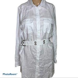 Tweeds medium linen top NWT belted collar dress